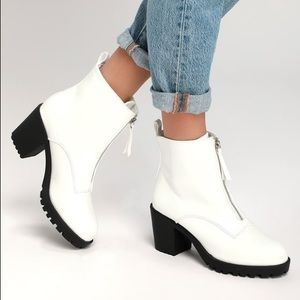 Lulus Shayne White Patent Zippered Ankle Boots